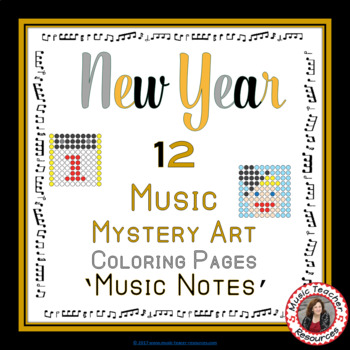 Music New Year Activities: 12 Music Coloring Pages: Music Mystery Art