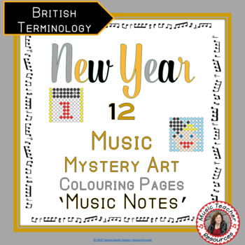 New Year Music Colouring Sheets: 12 Music Colouring Pages: Music Mystery Art
