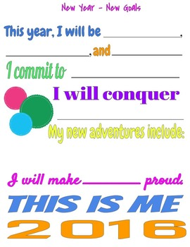 New Year, New Goals - A Goal-Setting, Resolution Activity for High School