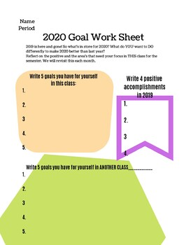 New Year, New Me Student Resolution Worksheet