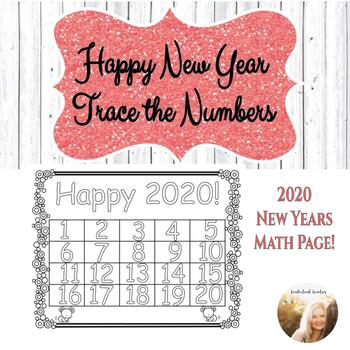 New Year Number Tracing Page