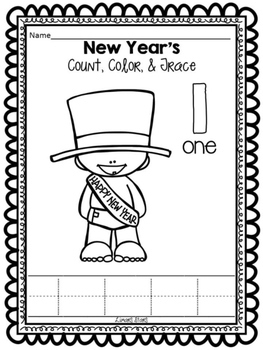 New Year Numbers 1-10: Count, Color & Trace