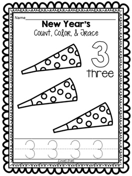 New Years Numbers 1-10: Count, Color & Trace