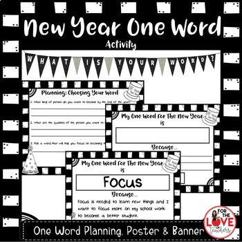 New Year One Word Banner, Planning & Poster Activity