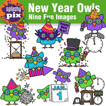 new year owls clipart