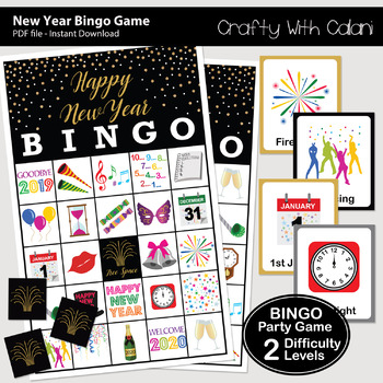 New Year Party Bingo & Memory Game, New Year Party Printable Game