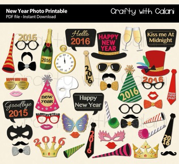 New Year Party Printable, 49 props for 2016 New Year Party