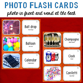 New Year's Photo Flash Cards Photo in front and Word at the back
