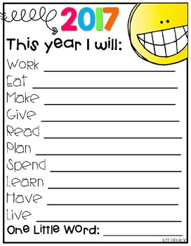 New Year Planning Page