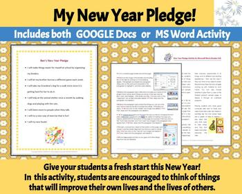 New Year Pledge--A Microsoft Word Activity for Grades 4-8