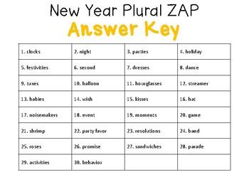 New Year Plurals ZAP