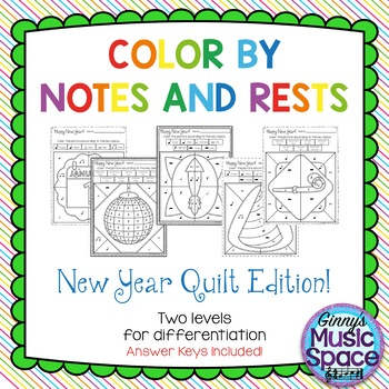 New Year Quilt Color by Notes and Rests