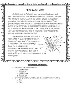 New Year Reading Comprehension Passage, Questions, and Writing Prompt