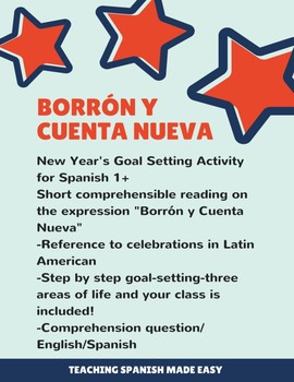 New Year Reading and Goal Setting Activity. Theme: Borrón y cuenta nueva Sp 1+
