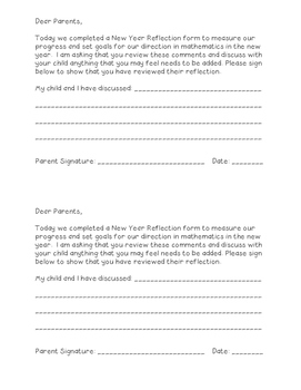 New Year Reflection Parent Input and Signature Form