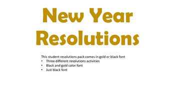 New Year Resloutions
