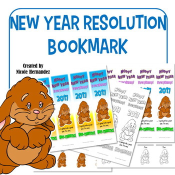 New Year's Resolution 2017 Bookmarks - Bunny