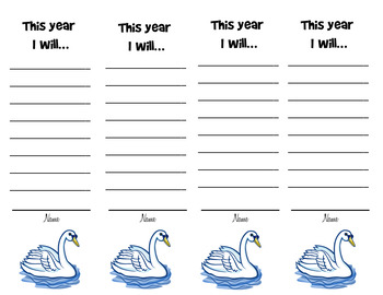 New Year's Resolution 2017 Bookmarks - Swan