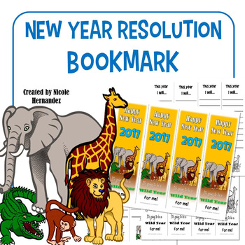 New Year's Resolution 2017 Bookmarks - Wild Animal Safari