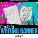 New Year Resolution Bunting Banner- January No Prep Writing Activity
