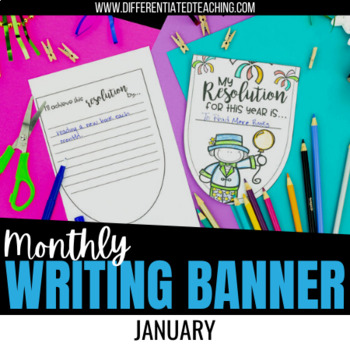 new year resolution bunting banner january no prep writing activity