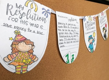 New Year Resolution Bunting Banner- January No Prep Writing Activity