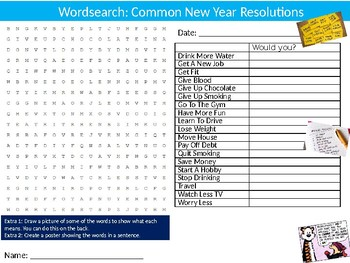 New Year Resolutions Wordsearch Puzzle Sheet Keywords Sports End of Year