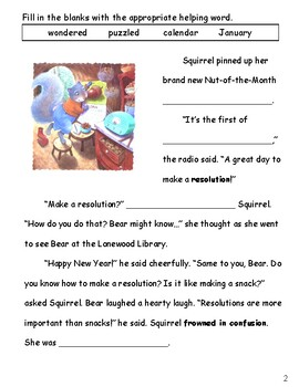 "New Year Resolutions - based on ""Squirrel's New Year's Resolution"" by Pat Miller"