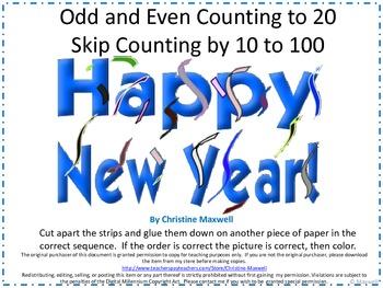 New Year Skip Counting Cut And Glue