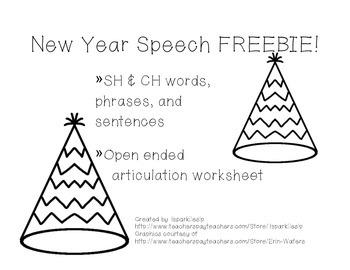 New Year Speech FREEBIE!  Articulation