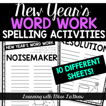New Year Spelling Word Work Unscramble Activities Word Creator