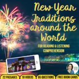 New Year Around the World Comprehension + Boom Cards BUNDLE
