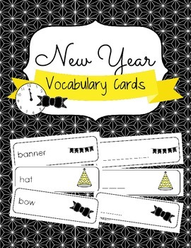 New Year Vocabulary Cards and Spelling Practice