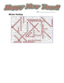 New Year Winter Holiday Word Search Puzzle