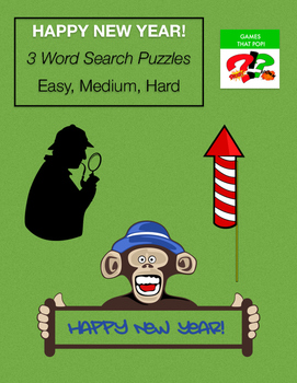 NEW YEAR Word Search - New Year's Day - Party Game - 3 lev