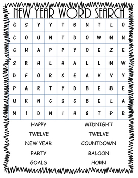 New Year Word Work