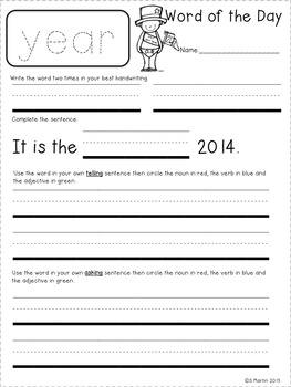 New Year Word of the Day Freebie