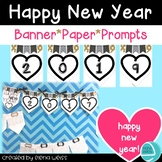 New Year Writing Prompts, Banner and Writing Paper