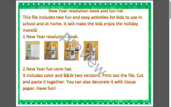 New Year activity bundle: New Year resolution book and cone hat English version