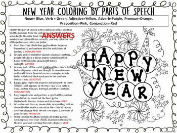 New Year and Winter Grammar, NO PREP Coloring for Teens
