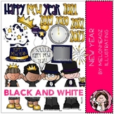 New Year clip art - BLACK AND WHITE - Melonheadz Clipart