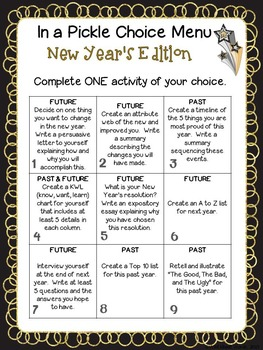 New Year's Pick A Project Writing Activities, Choice Menus, Rubric, Templates