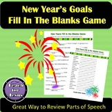 New Year's Activity | New Year's Goals Parts of Speech Story Game