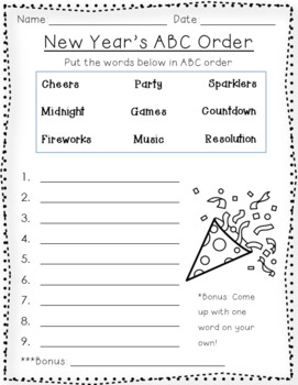 New Year's ABC order