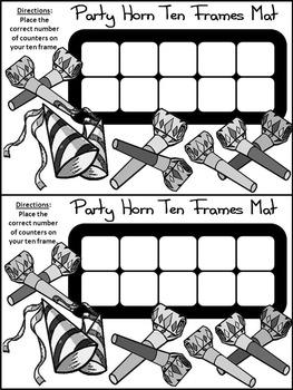 New Year's Math Activities: Party Horns New Year's Ten Frames Math Activity