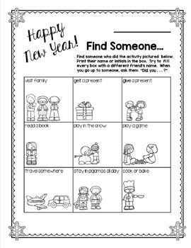 New Year's Activities including Find Someone Who Winter version