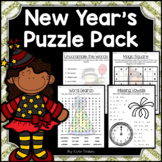 New Years Activities - Math & Literacy Puzzles | Early Finishers