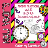 New Year's Adding Fractions with Unlike Denominators Color by Number