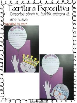 New Year's / Año Nuevo- Expository Writing Craftivity - Spanish