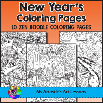 New Year's Coloring Pages, Zen Doodles